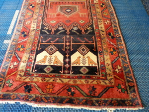 Lovely antique Kurdish rug getting ready for a rejuvenating wash by the Certified Master Textile Cleaners at www.runningriverrugcleaning.com
